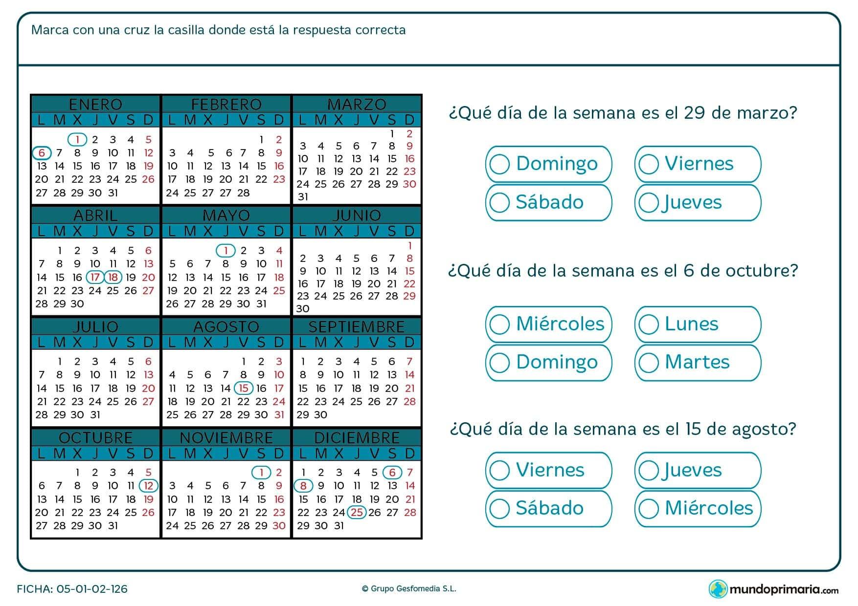 Ficha de calendario en la que deberás encontrar un día del año concreto que se te pide dentro de un calendario.