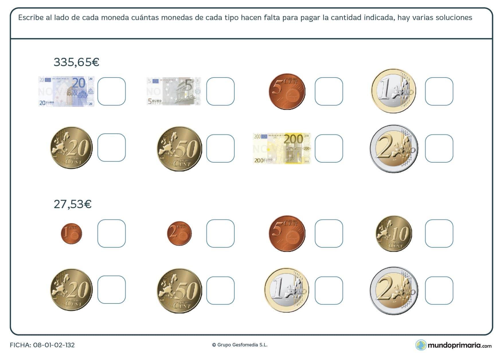 Ficha de cantidad de monedas o billetes para poder obtener una determinada cantidad.