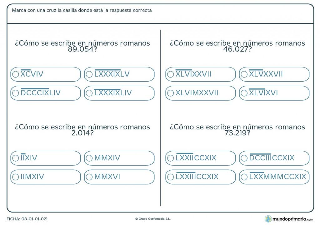Ficha de cantidades romanas para niños de sexto de primaria