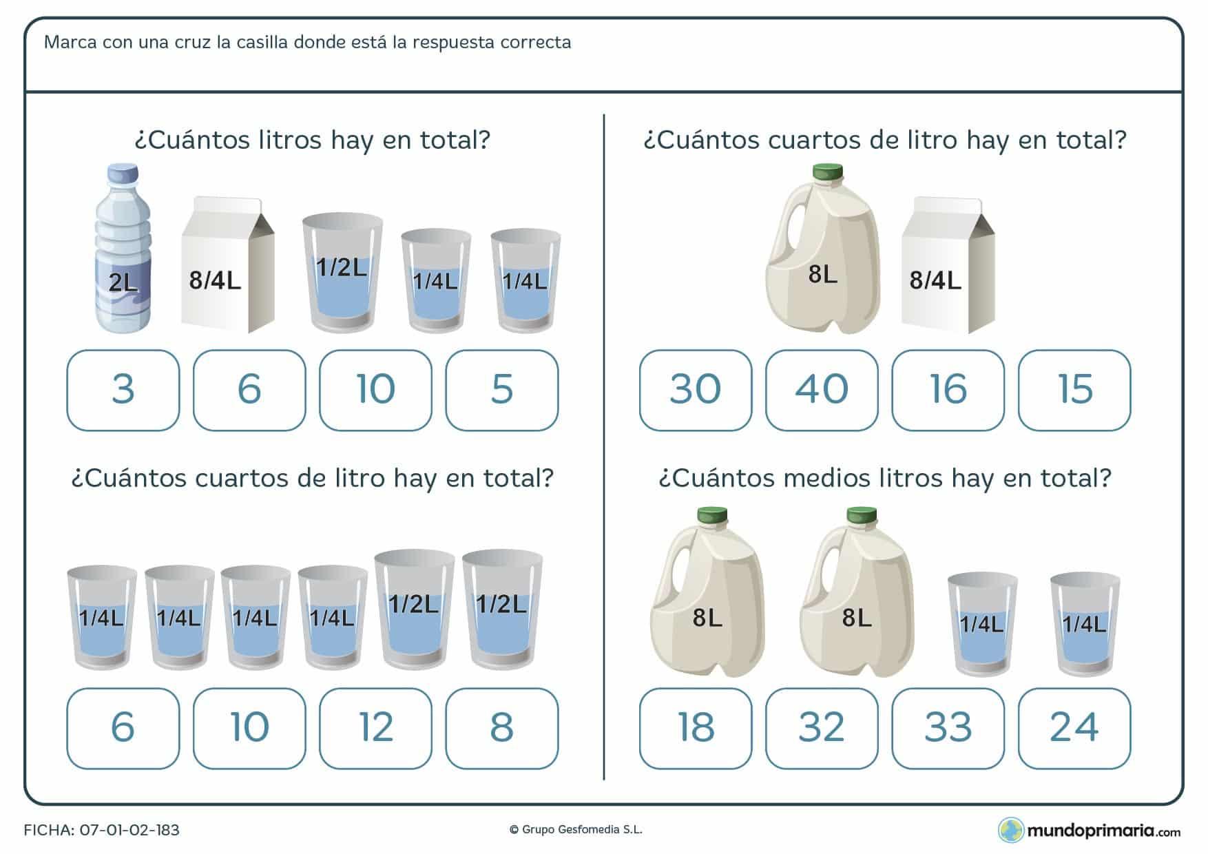 Ficha de capacidad de envases que has de sumar para poder marcar la respuesta correcta.
