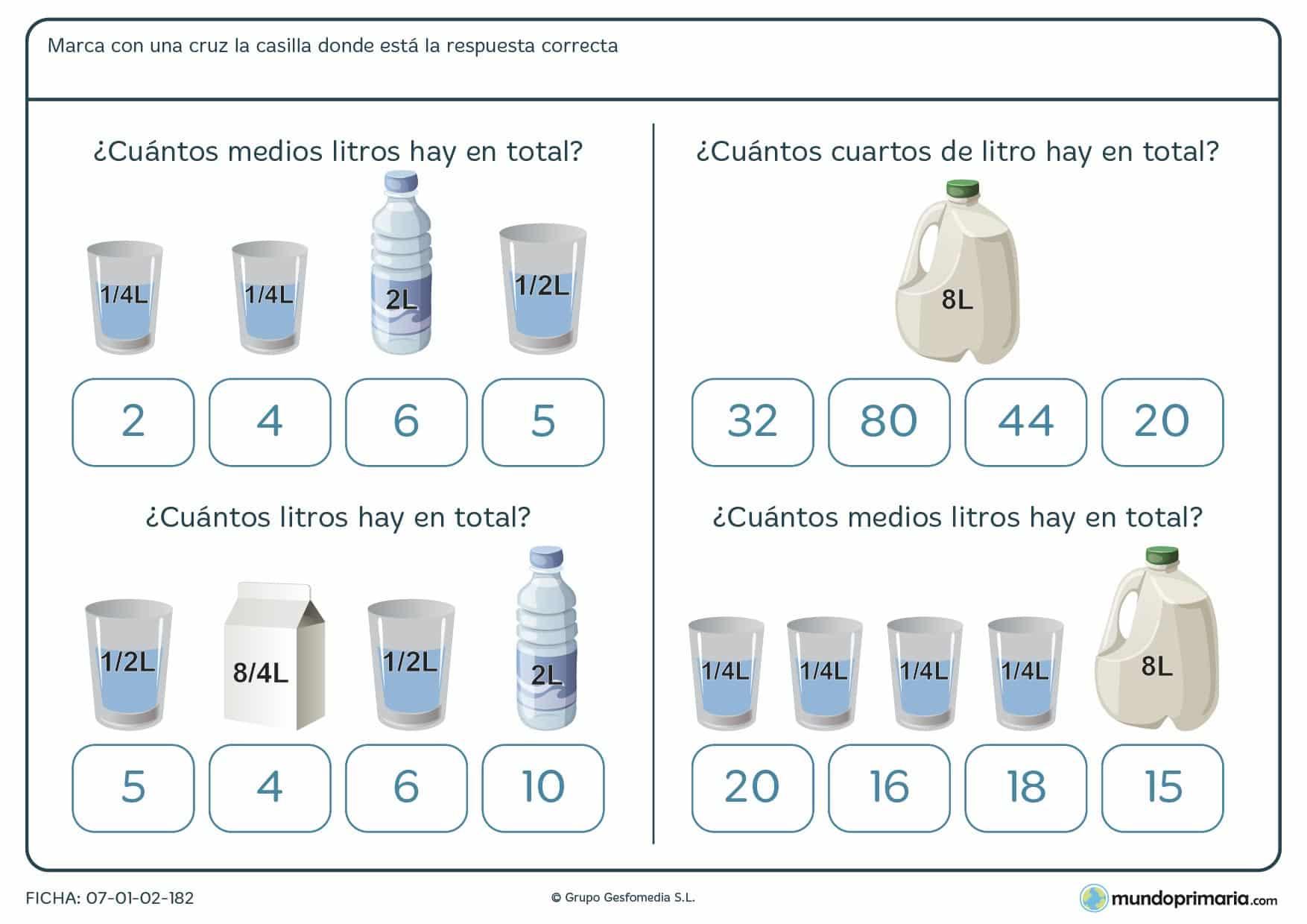 Ficha de capacidad en litros. Tienes que responder correctamente sobre las equivalencias de las medidas que te damos.