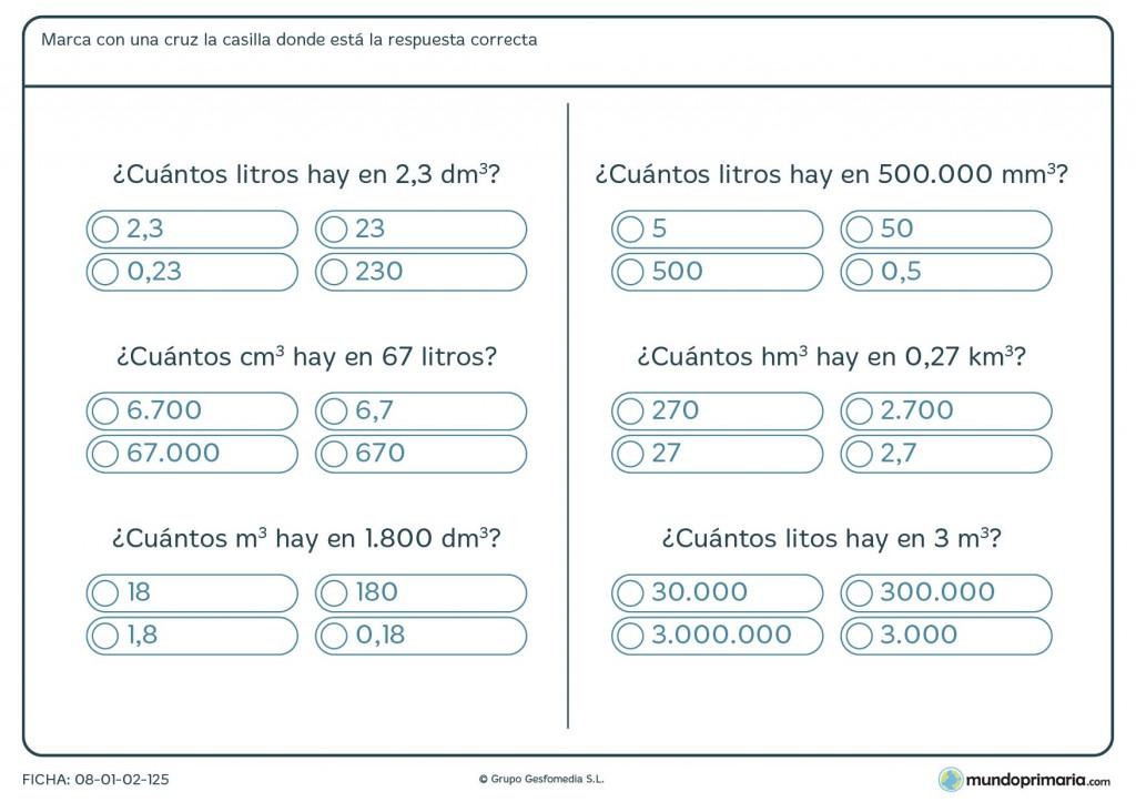 Ficha de capacidades y volúmenes para primaria