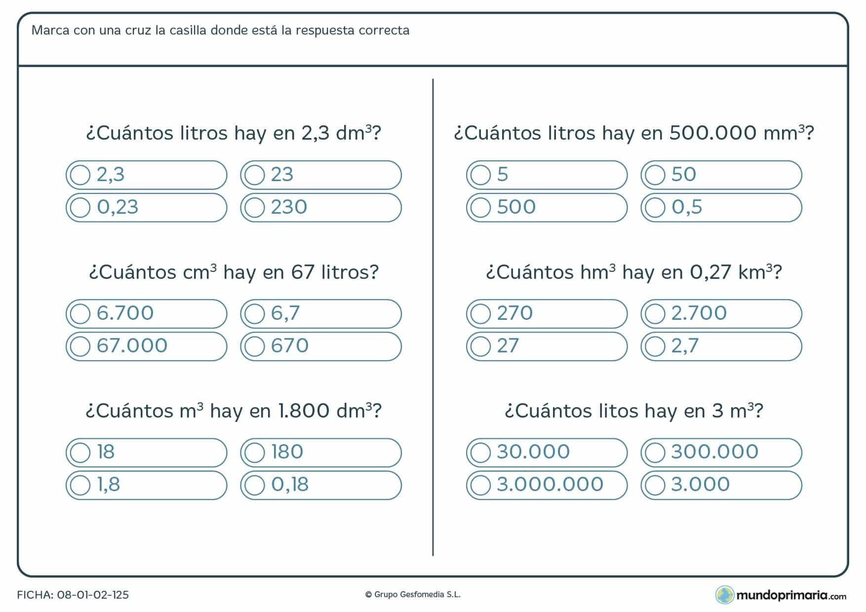 Ficha de capacidades y volúmenes para calcular sus equivalencias