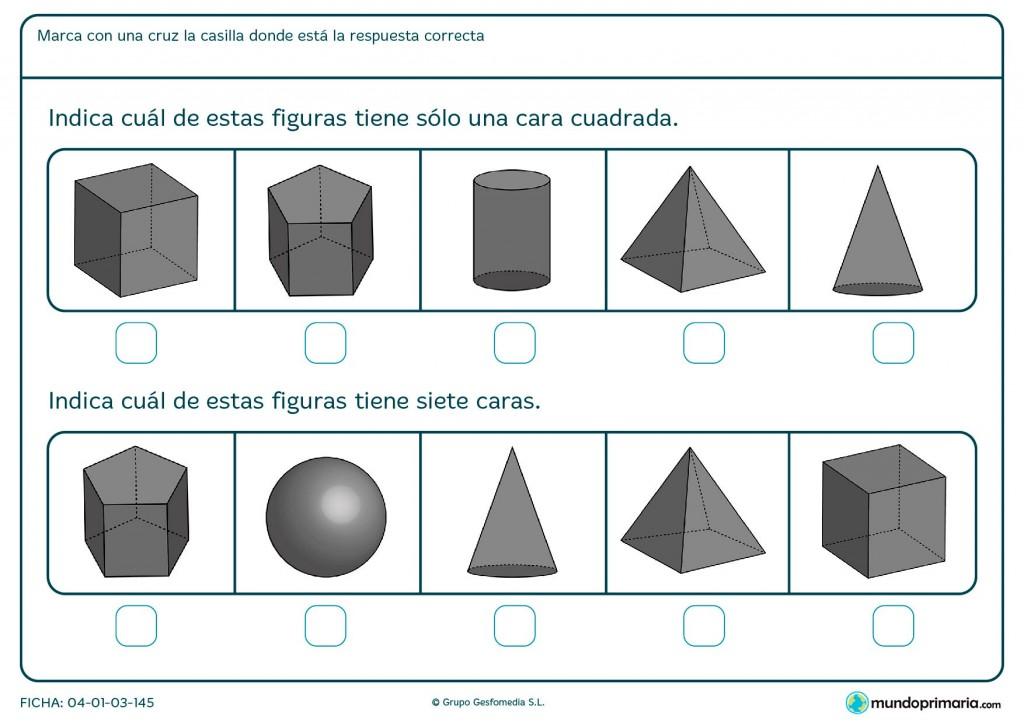 Ficha de caras de figuras geométricas para primaria