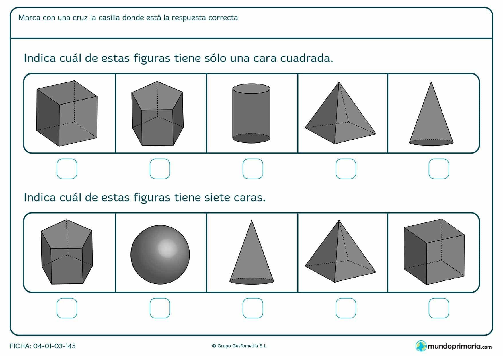 Ficha de caras de figuras geométricas para marccar según su número de caras o de alguna particularidad de estas.