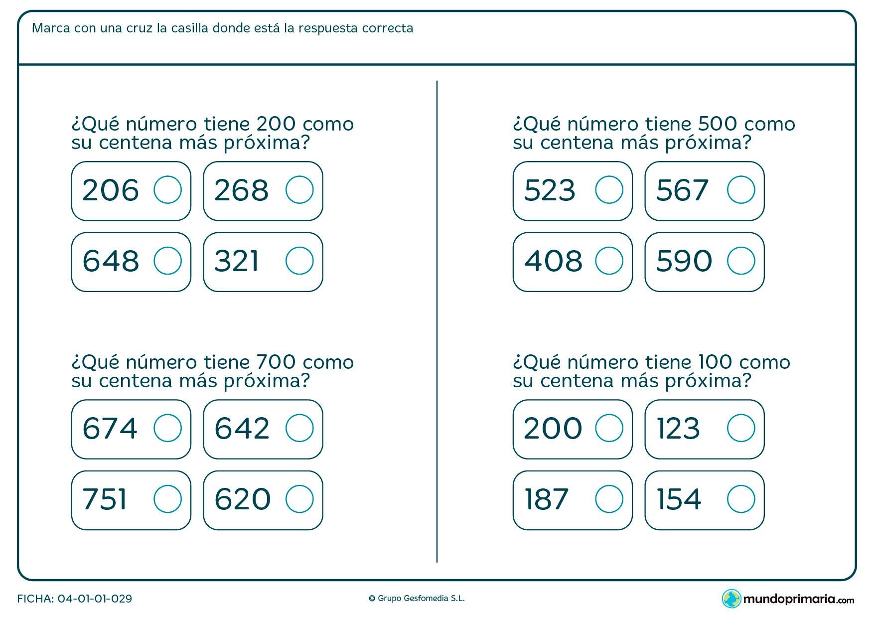 Ficha de cercanía de centenas con respecto a los números que aparecen en la ficha.