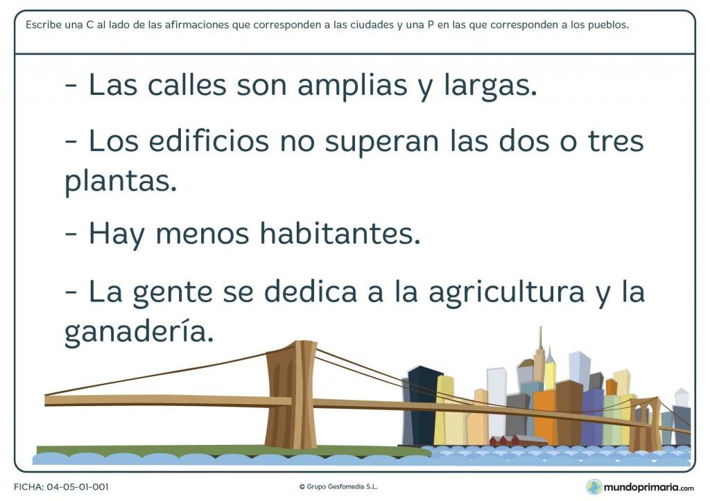 Ficha de ciudades y pueblos para primaria