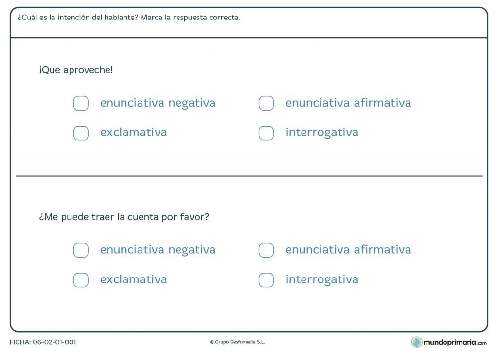 Ficha de clases de oraciones para primaria
