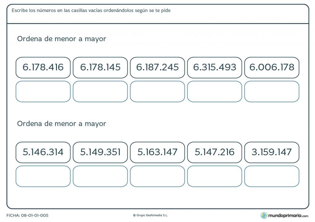 Ficha de clasificar de mayor a menor con 7 cifras para primaria