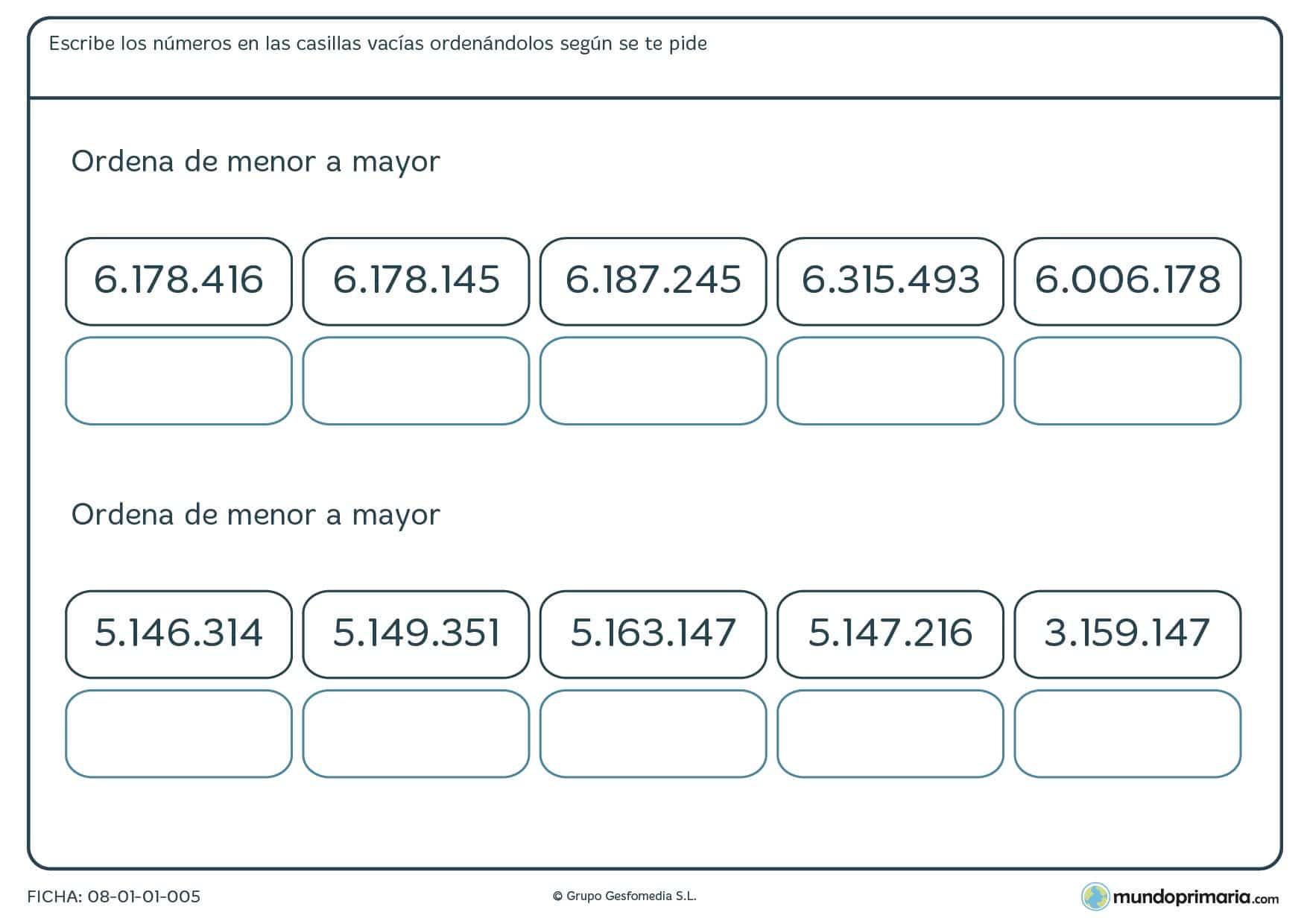 Ficha de clasificar de mayor a menor con 7 cifras en la que habrás de completar correctamente las casillas en blanco.