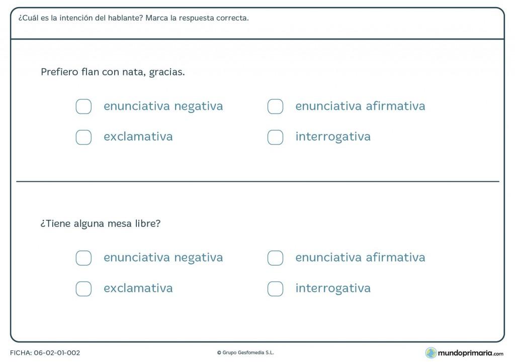Ficha de clasificar oraciones para primaria