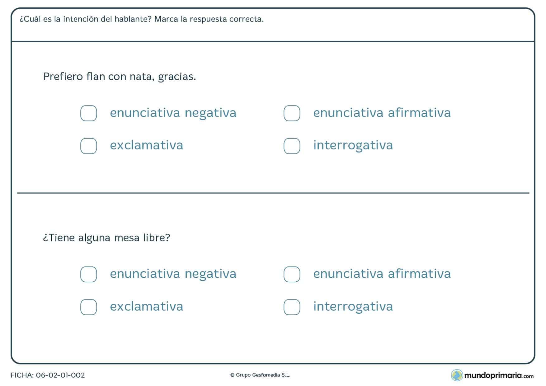 Ficha de clasificar oraciones según la intención de cómo se dice, en enuciativas,interrogativas y exclamativas.