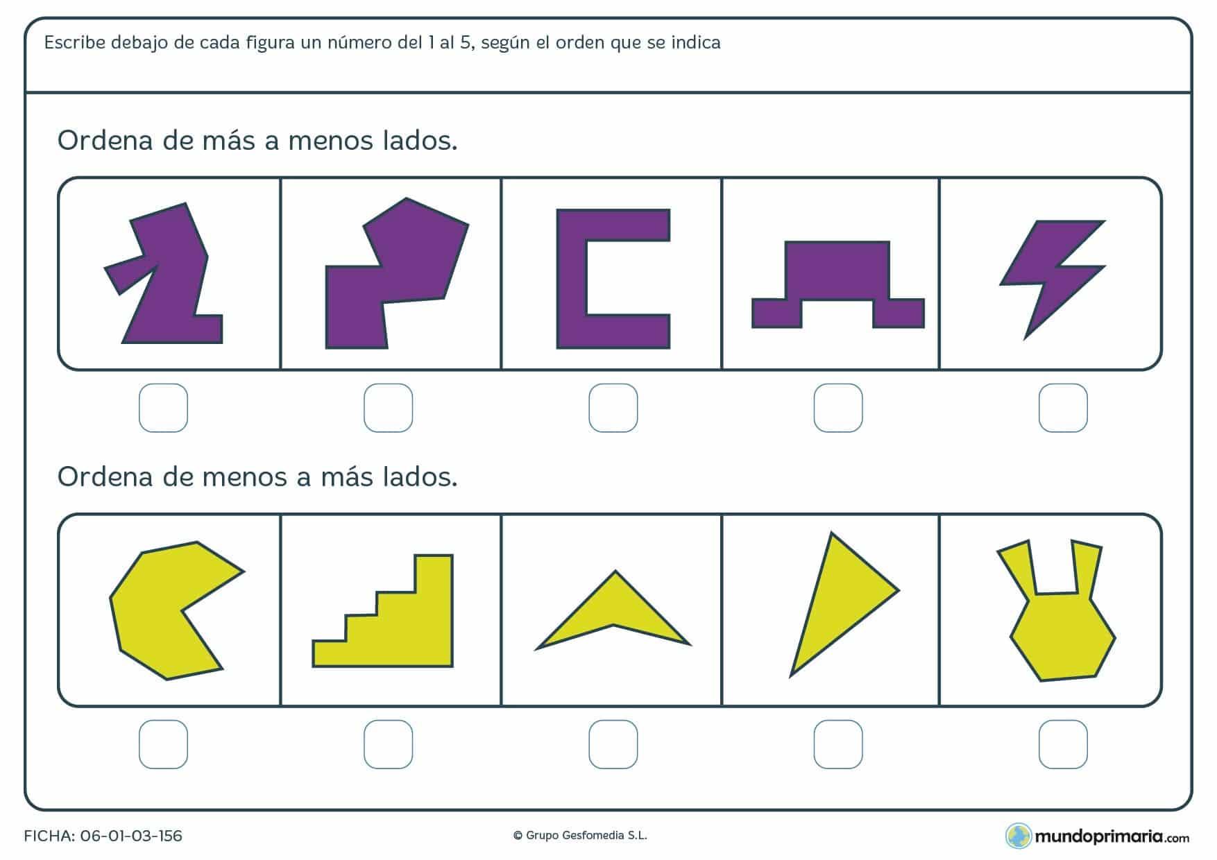 Ficha de clasificar por lados según su número la siguientes figuras y en el orden que se indica.