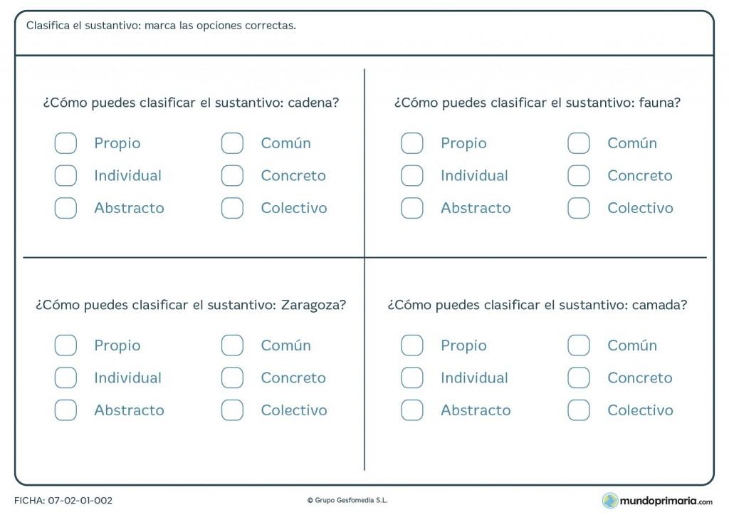 Ficha de clasificar sustantivos para primaria