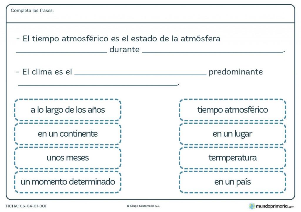 Ficha de clima para primaria