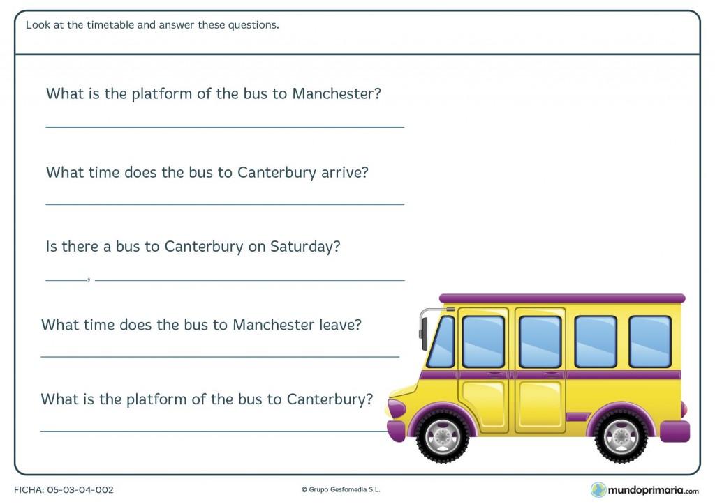 Ficha de coger el autobús en inglés para primaria