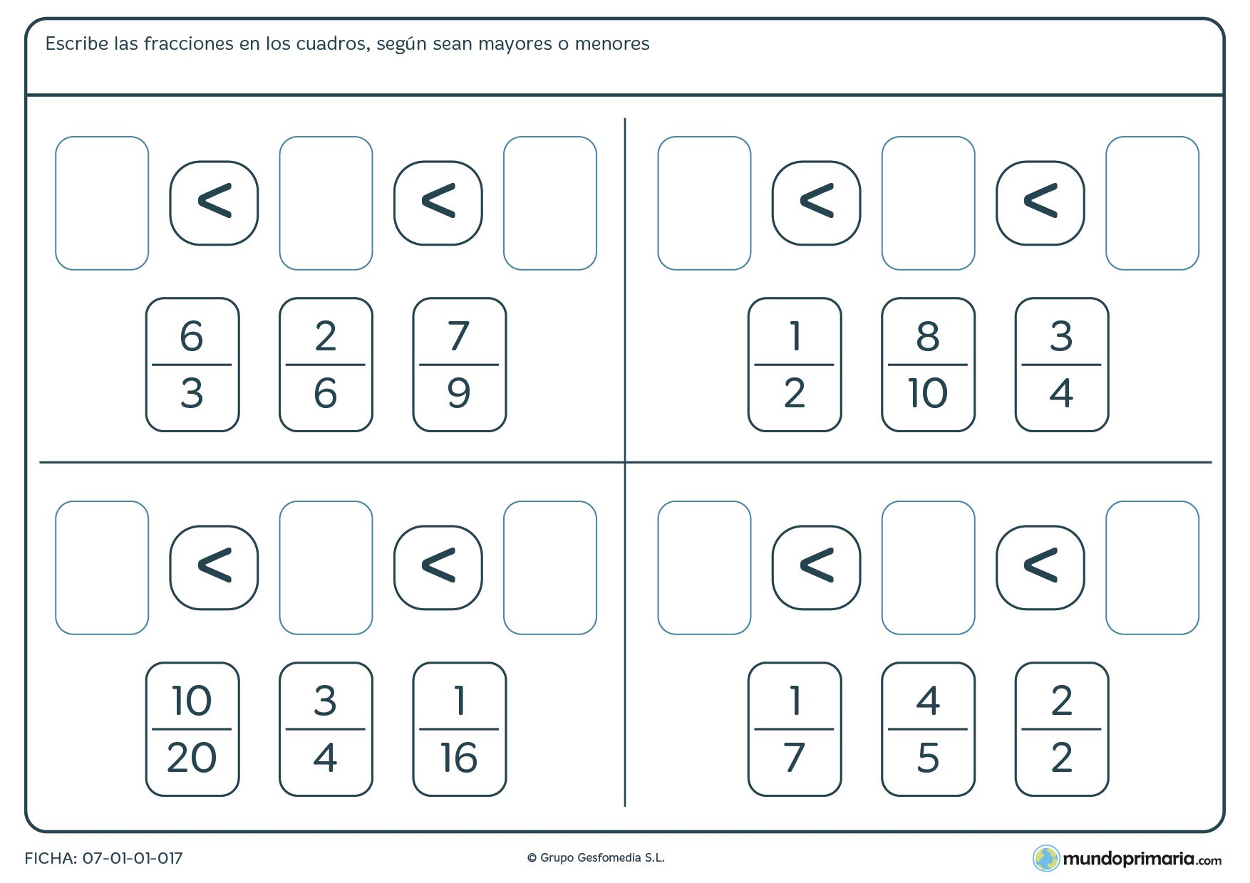 Ficha de coloca fracciones de menor a mayor en los espacios vacíos.
