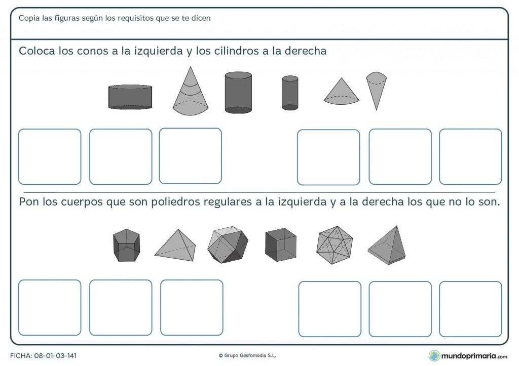Ficha de colocar conos para niños de 6º de primaria