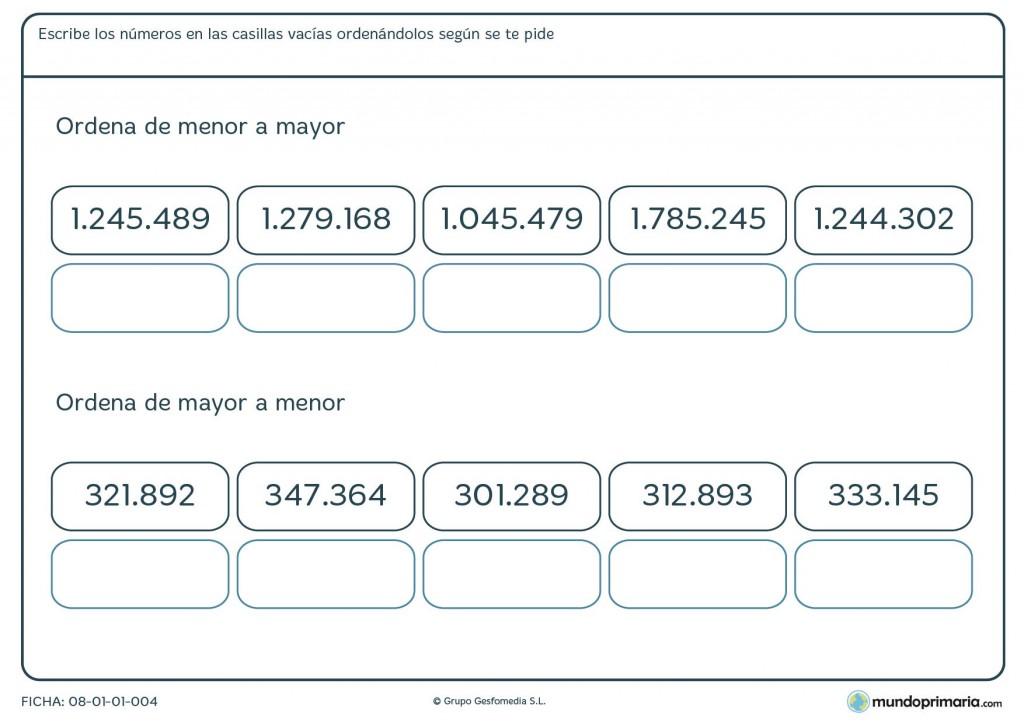 Ficha de colocar de menor a mayor con 6 o 7 cifras para primaria