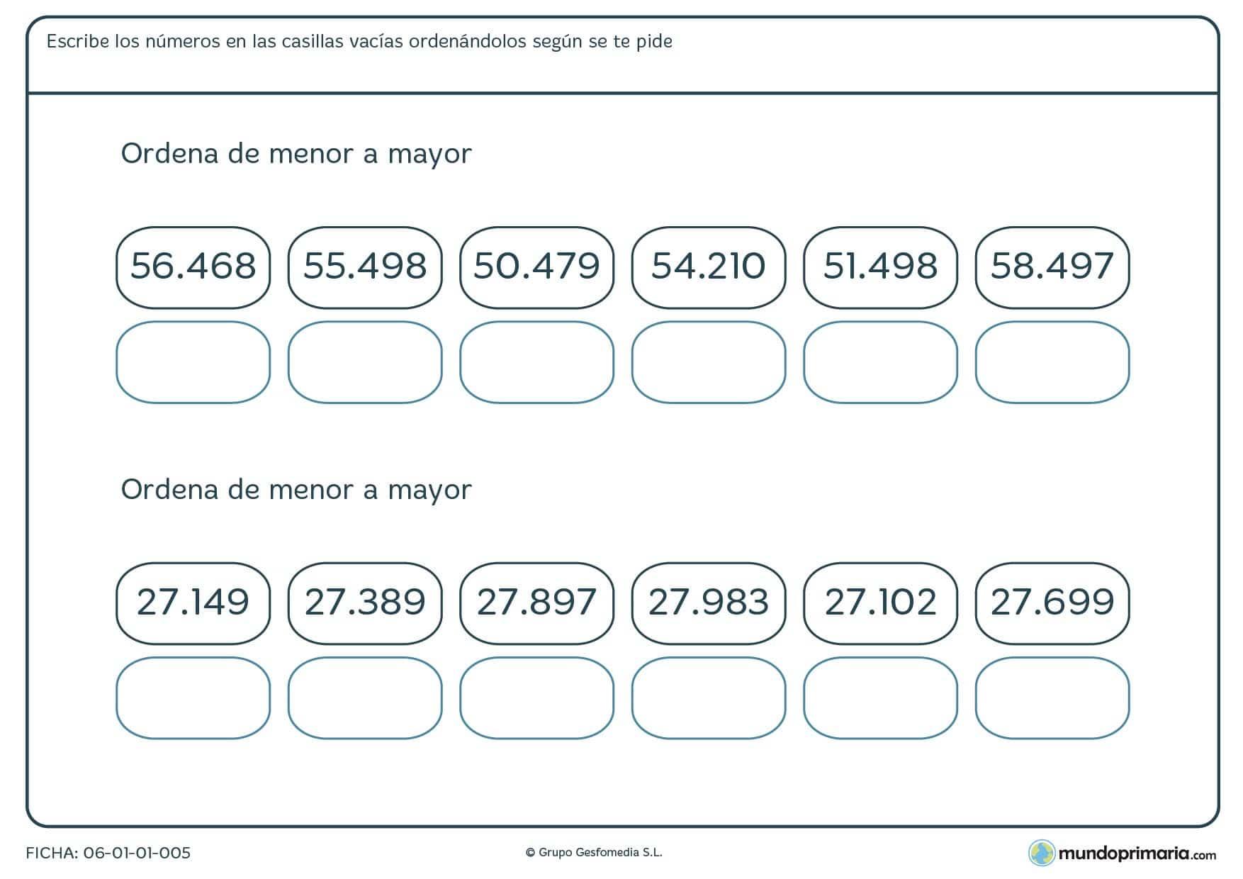 Ficha de colocar de menor a mayor los siguientes números de 5 cifras.