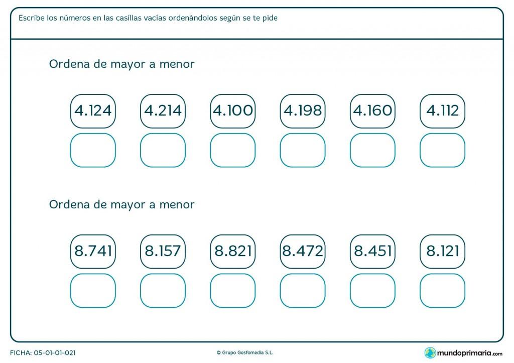 Ficha de colocar números en orden para niños de primaria