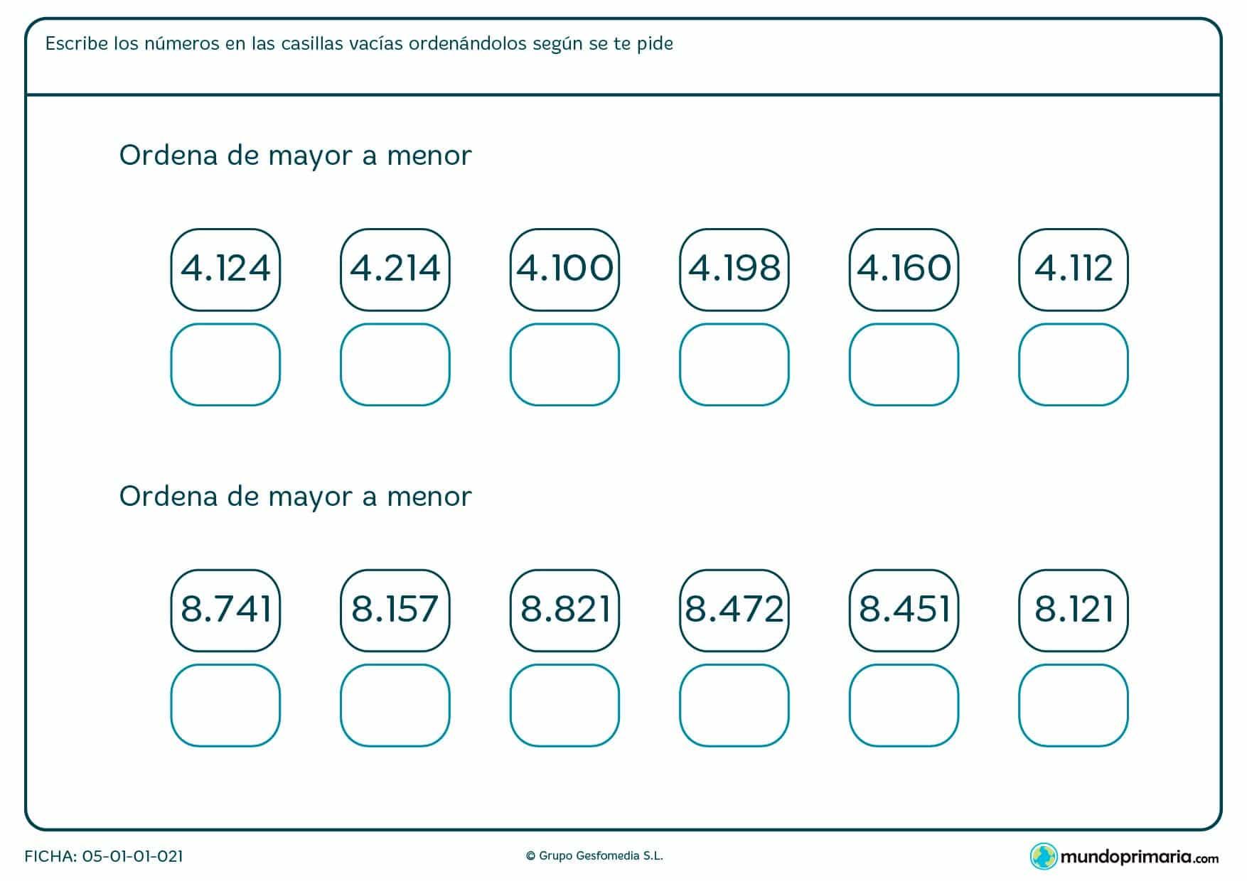 Ficha de colocar cantidades de cuatro cifras en orden de mayor a menor.