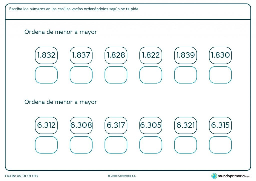 Ficha de colocar números para niños de primaria