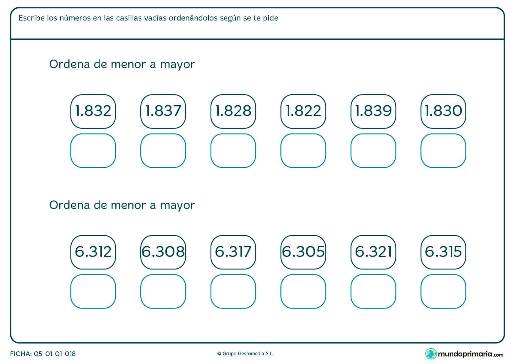 Ficha de colocar números de cuatro cifras en orden de mayor amenor.