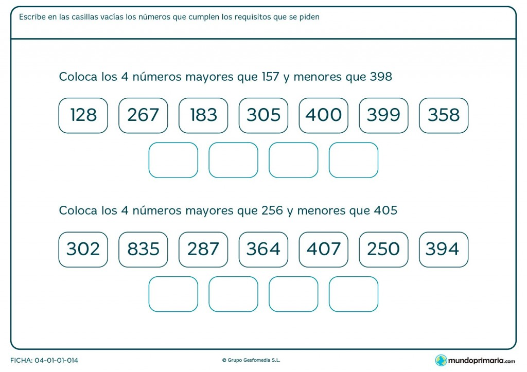 Ficha de colocar números para primaria