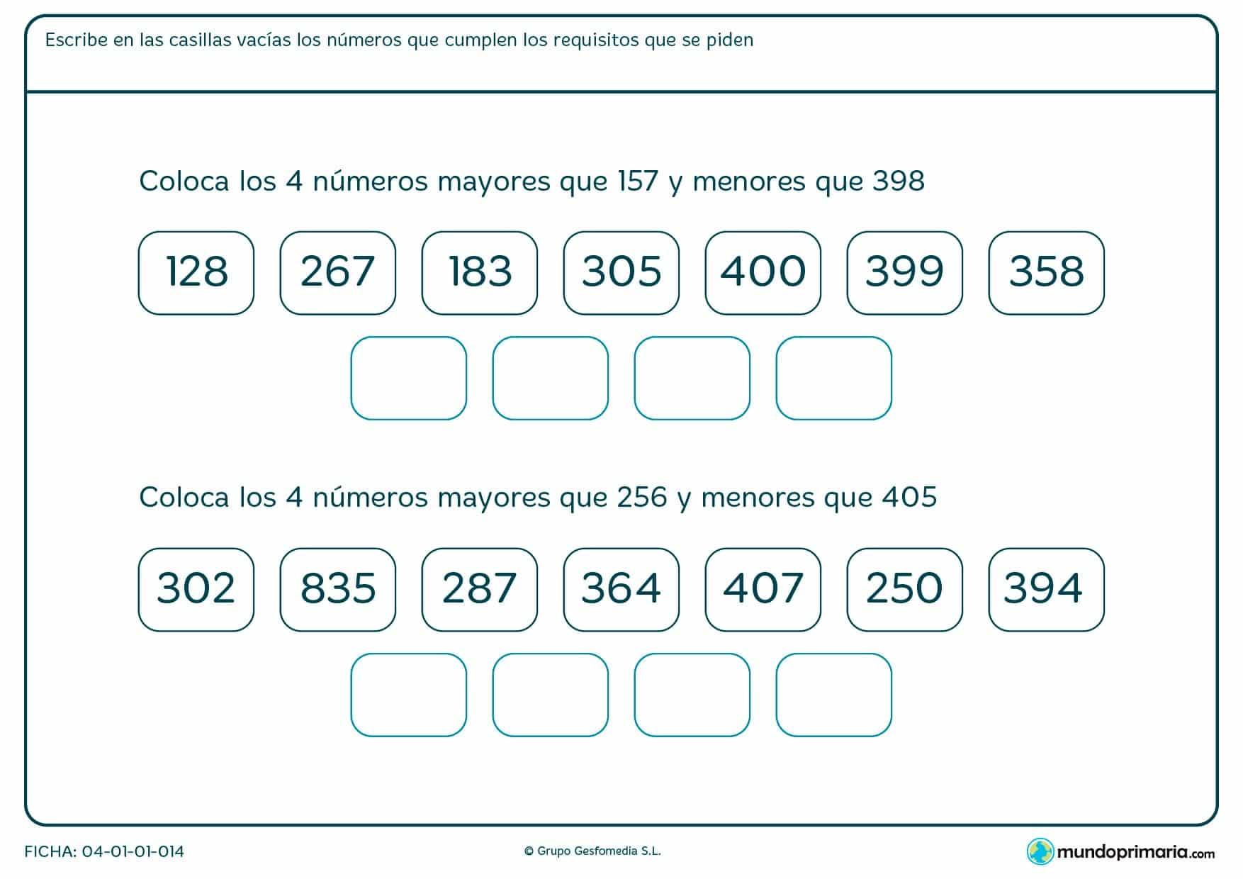 Ficha de colocar números que hay entre 2 de 3 difras que te señalamos. Escribe los que cumplan ese requisito.