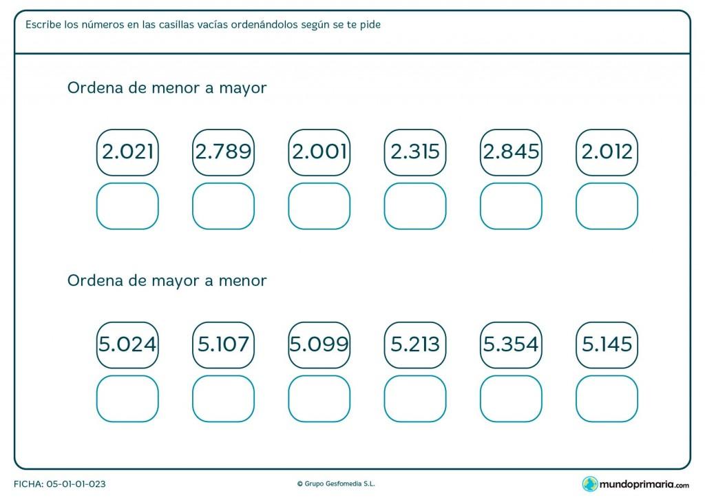 Ficha de colocar números terminando con el mayor para primaria