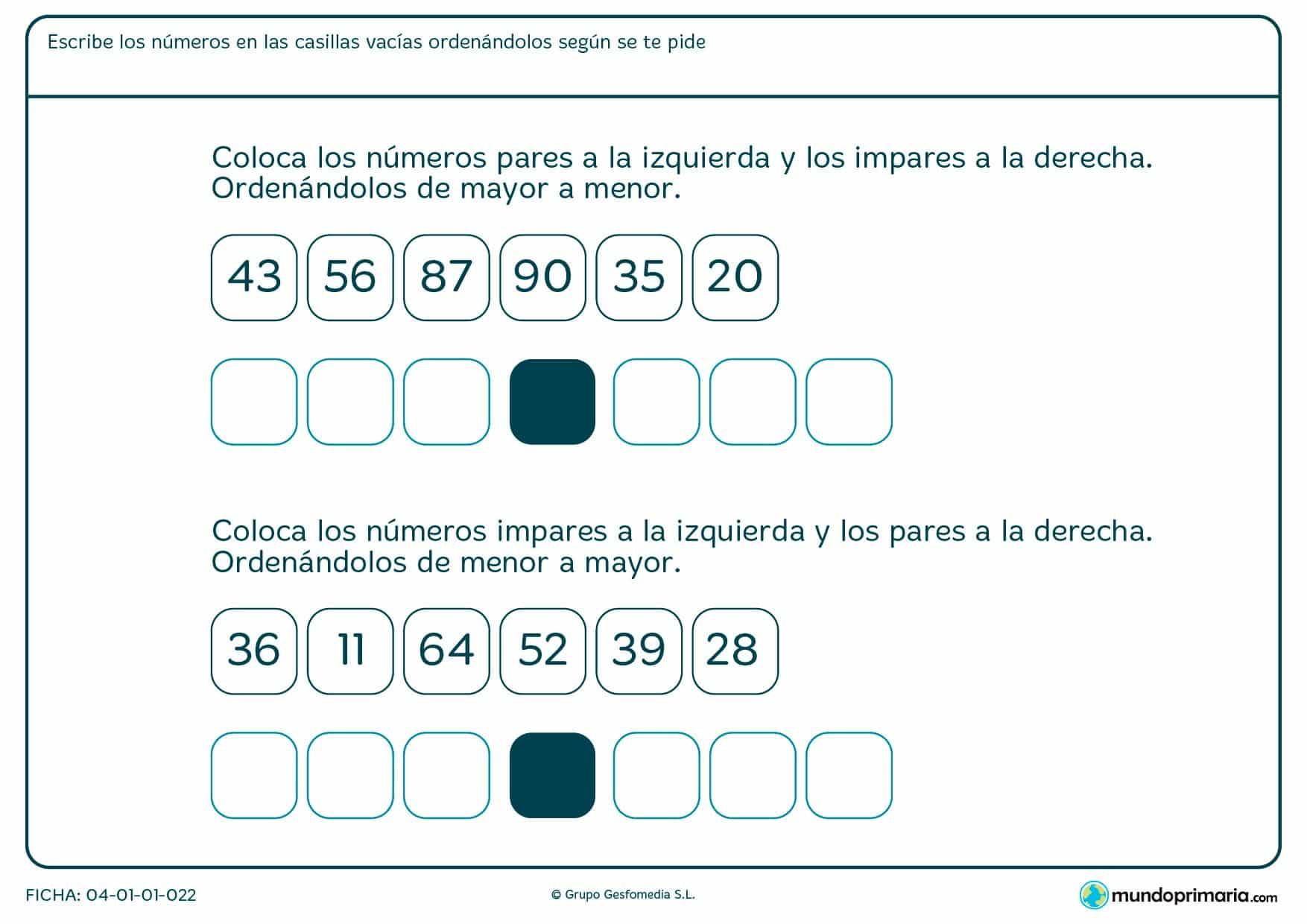 Ficha de colocar pares e impares a derecha o izquierda según la pregunta.