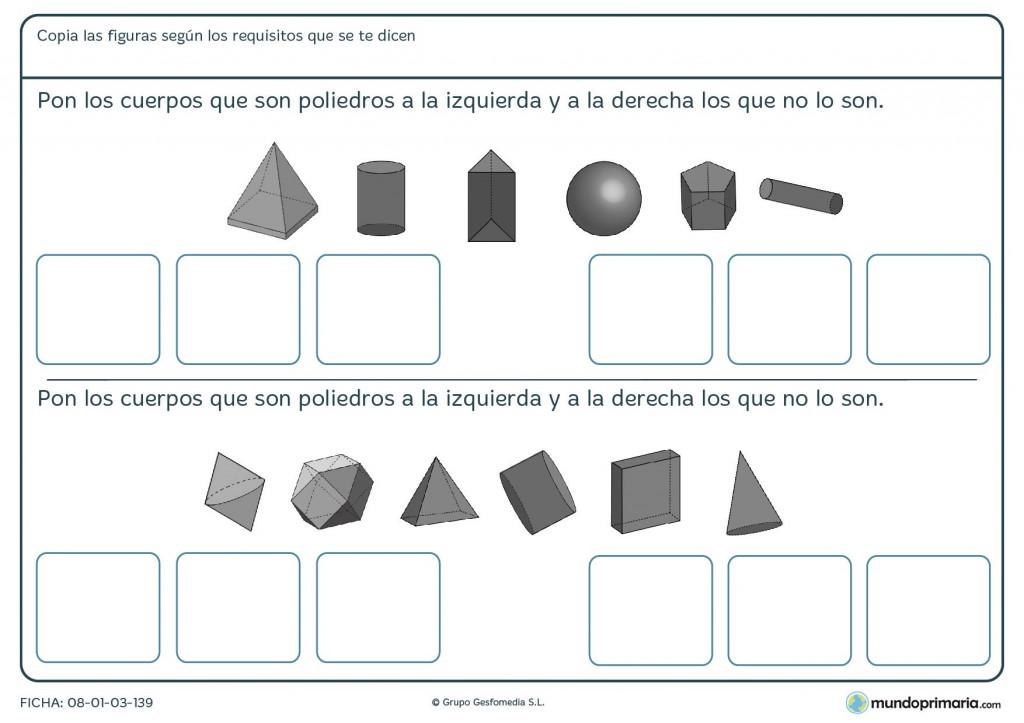 Ficha de colocar poliedros para primaria