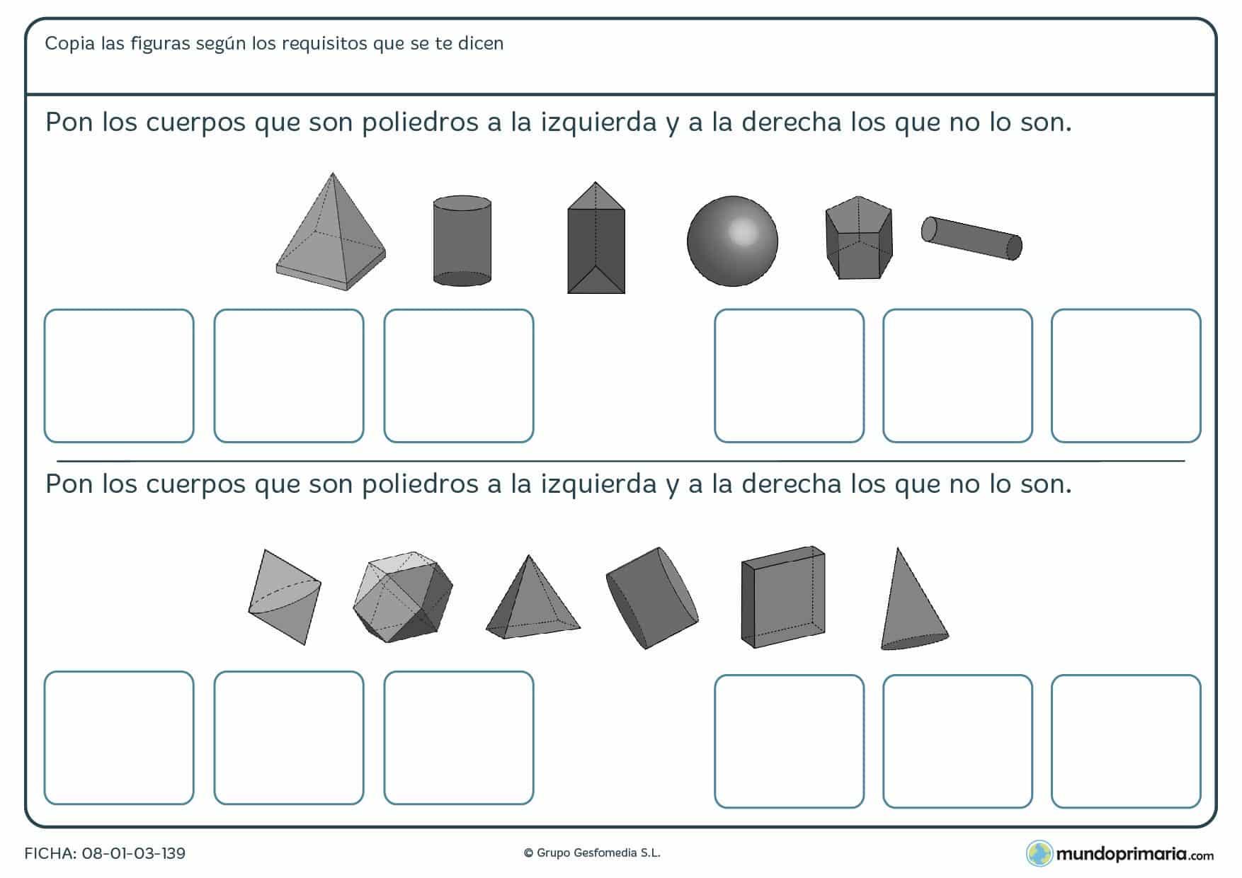 Ficha de colocar poliedros en las casillas de la izquierda y los que no en las de la derecha.