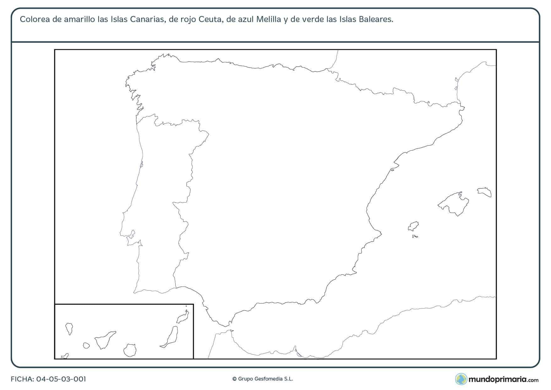Ficha de colorear zonas de España en la que debes colorear las zonas de España que están fuera de la Península Ibérica.