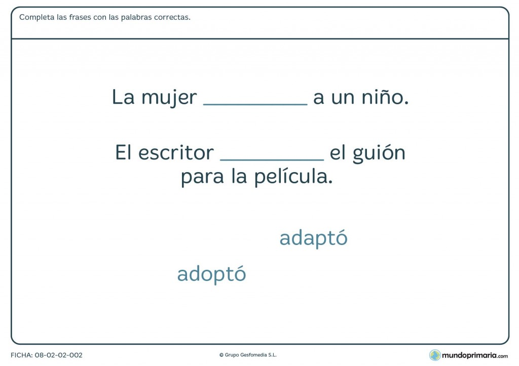 Ficha de completar con palabras parecidas para primaria