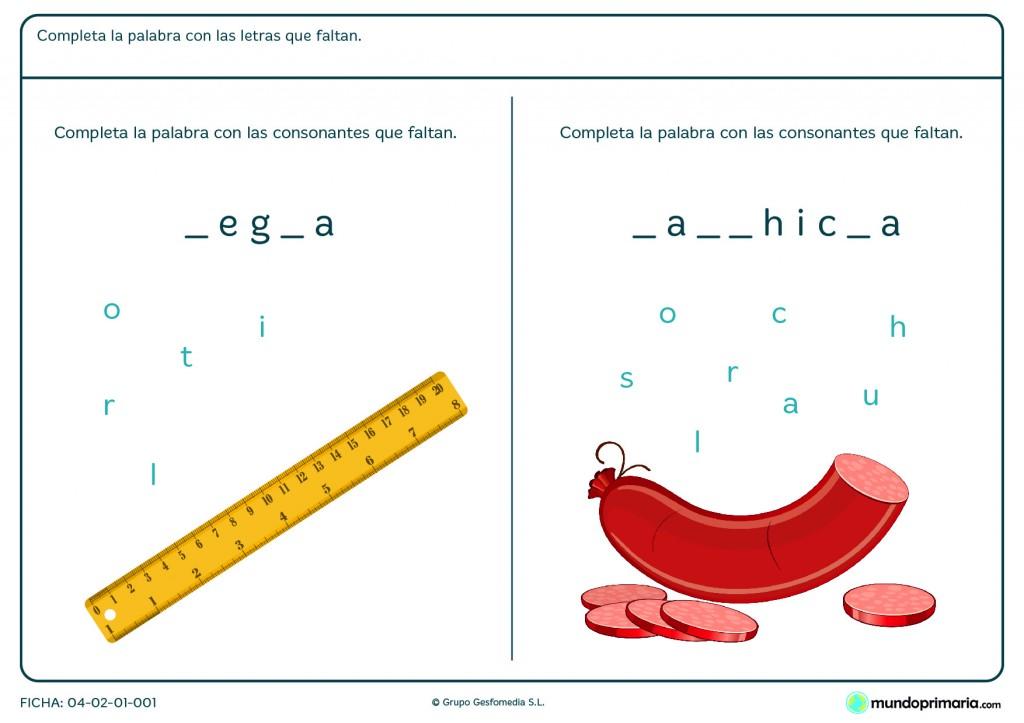 Ficha de completar consonantes para primaria