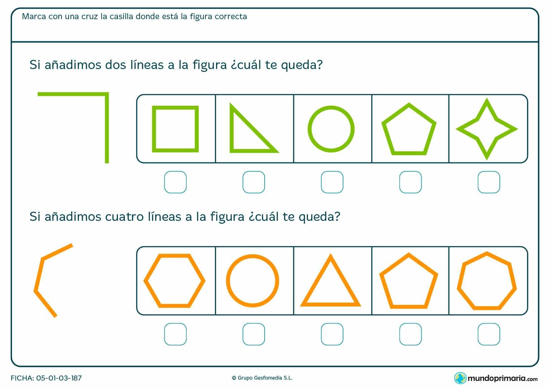 Ficha de completar cuadrado y otras figuras y ver cuál se forma según las líneas añadidas.
