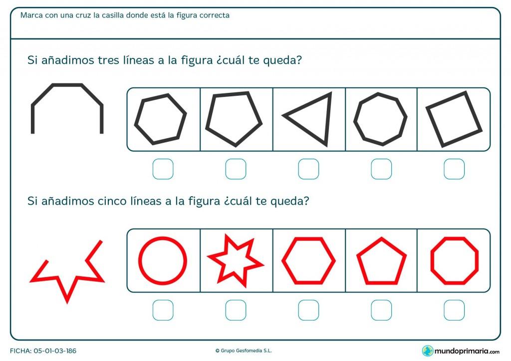 Ficha de completar figura geométrica para primaria