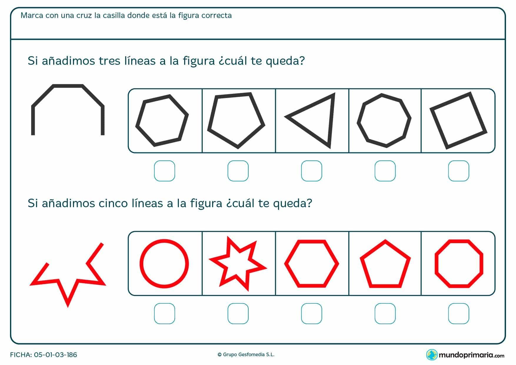 Ficha de completar figura geométricas y señalar con cuál se corresponde según el número de líneas que añadamos.