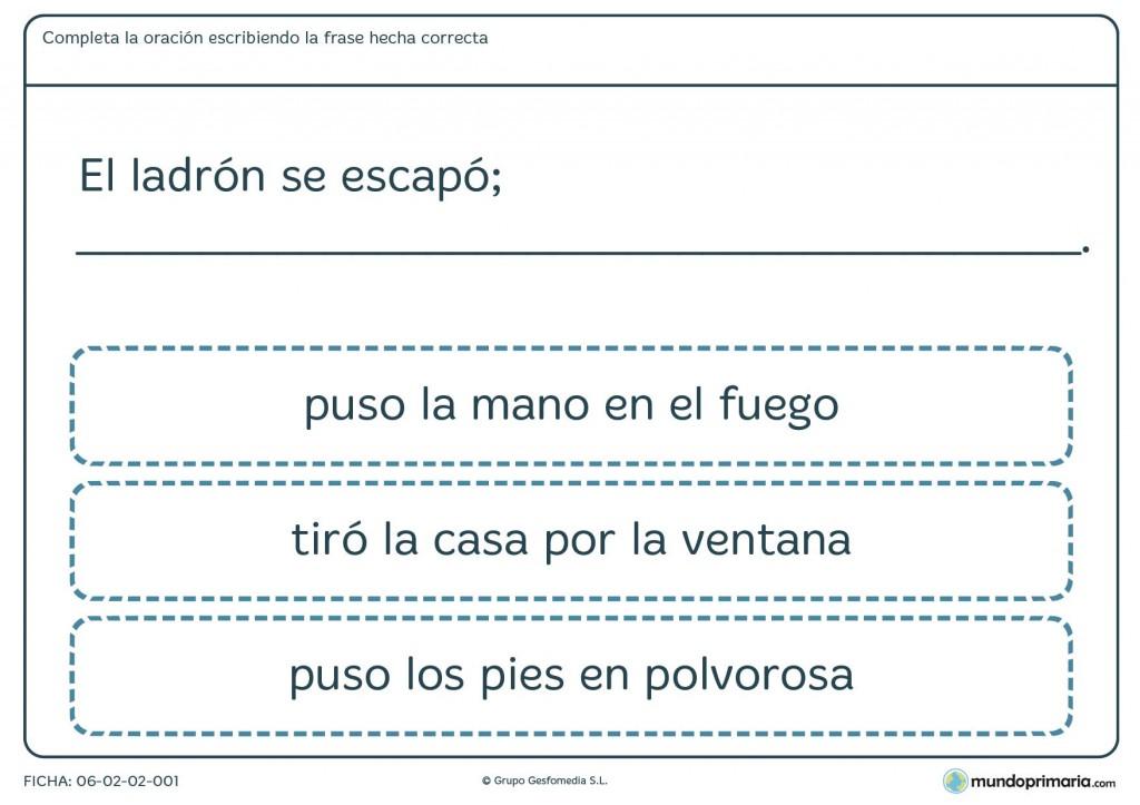 Ficha de completar frase para primaria