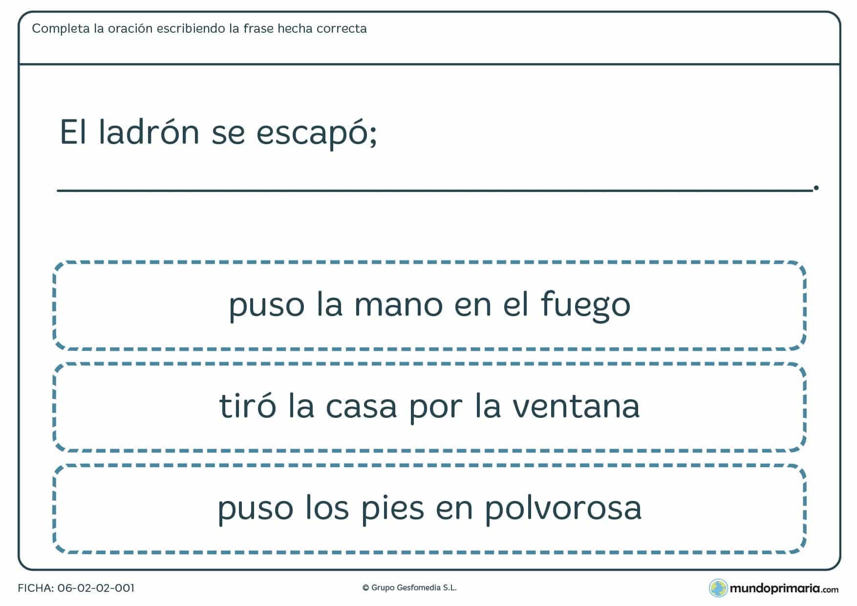 Ficha de completar frase eligiendo la opción que sea correcta según su contexto.