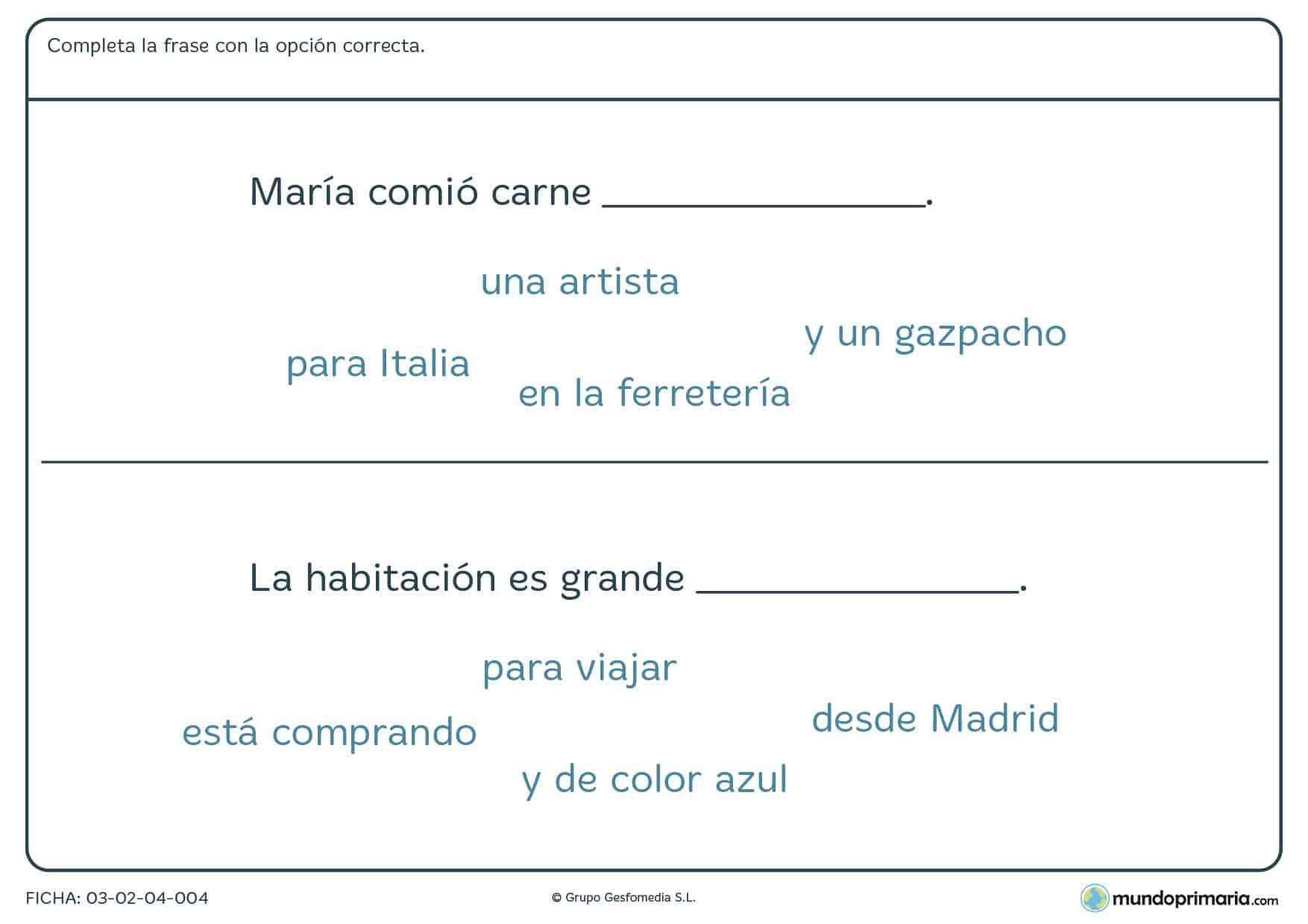 Ficha de completar frases correctamente entre las terminaciones que te proporcionamos.