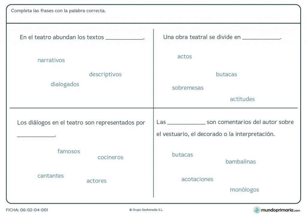 Ficha de completar frases correctamente para primaria