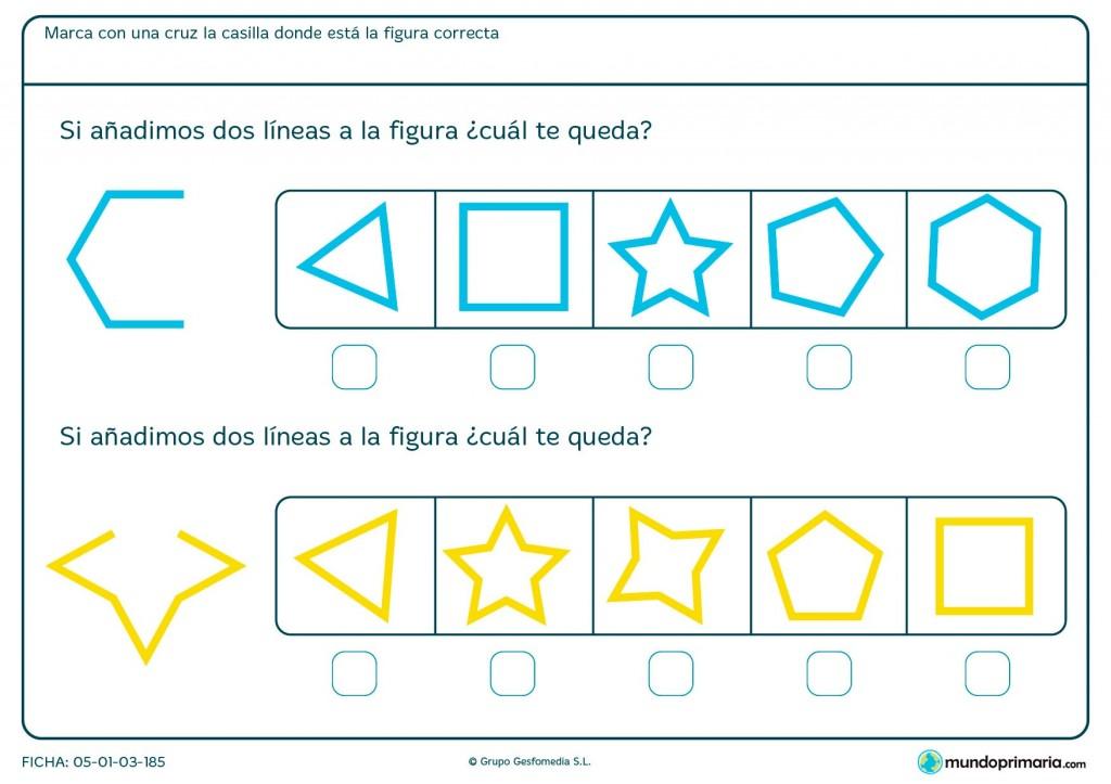 Ficha de completar hexágono para primaria