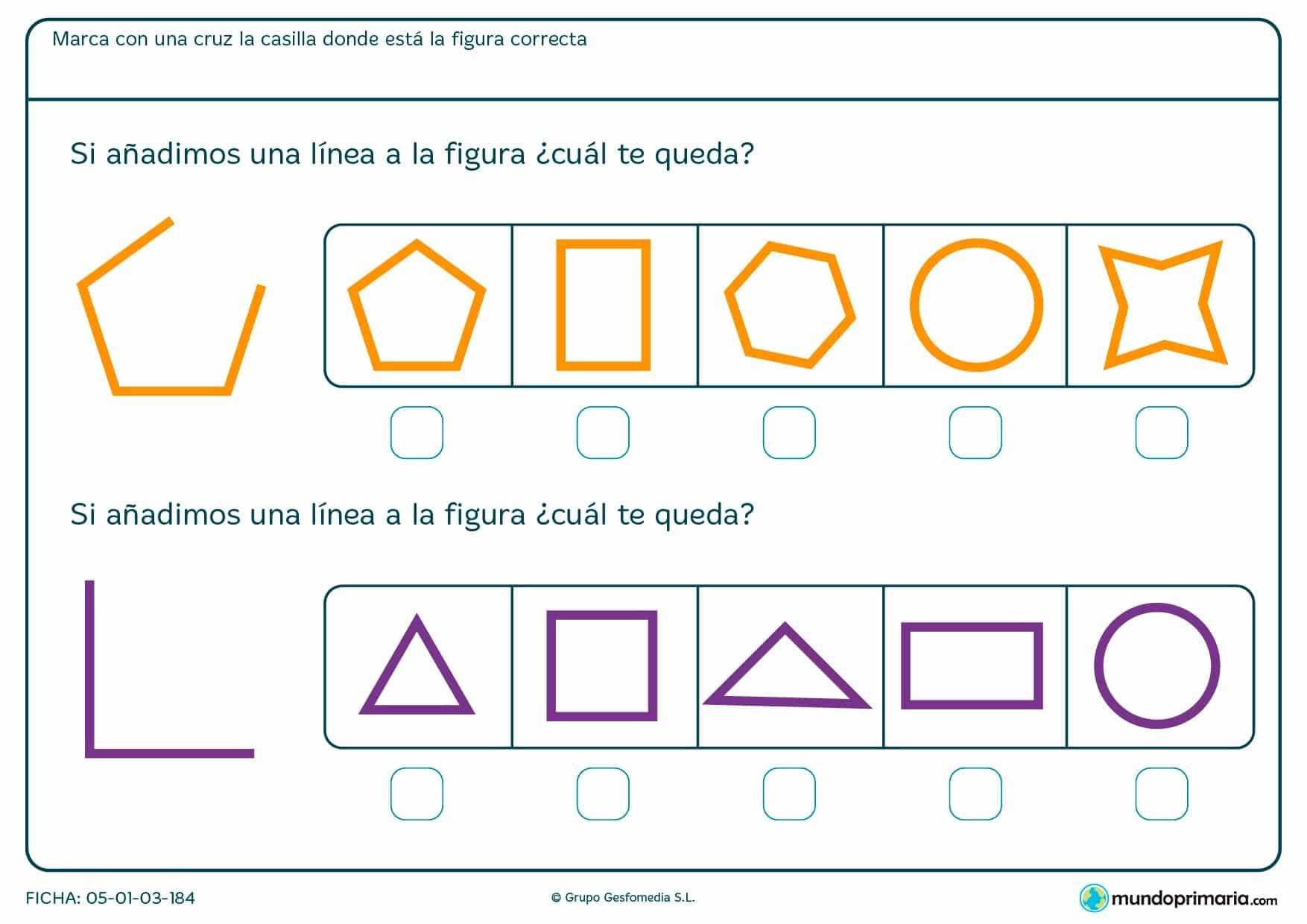 Ficha de completar pentágono y triángulo según las líneas que se indiquen en el enunciado.