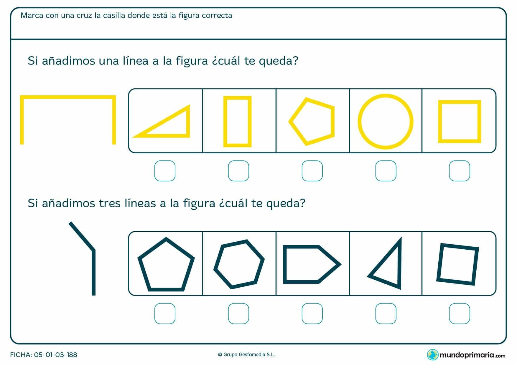 Ficha de completar rectángulo con líneas según se indica en el enunciado aparte de otras figuras.