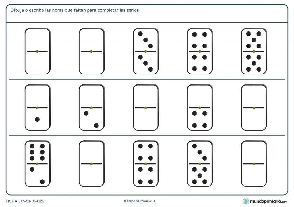 Ficha de completar series de dominó para primaria