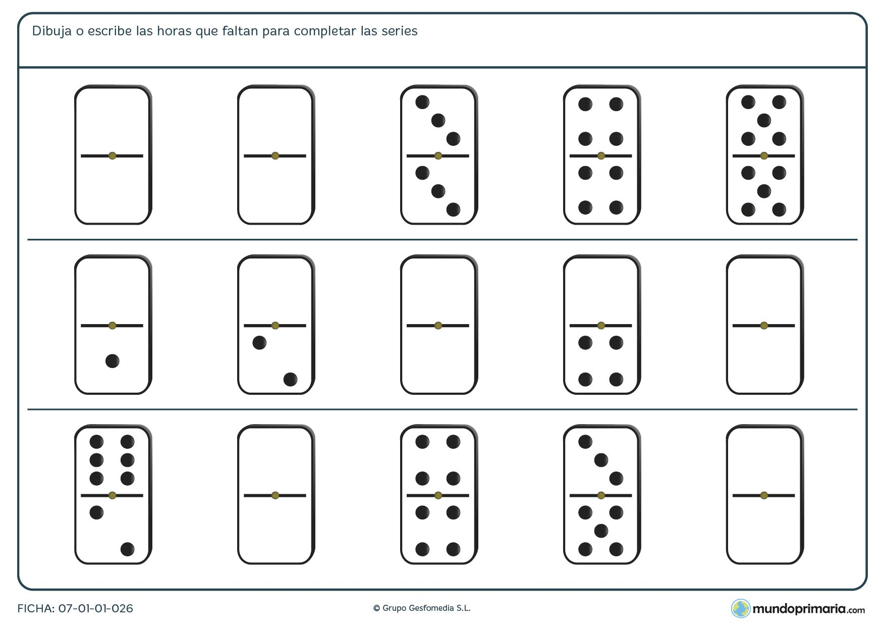 Ficha de completar series de dominó para que queden de modo lógico.