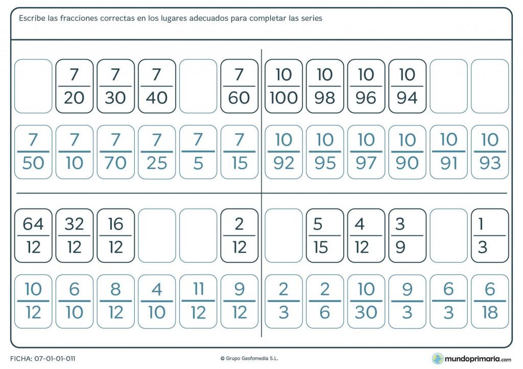 Ficha de completar series de fracciones para primaria